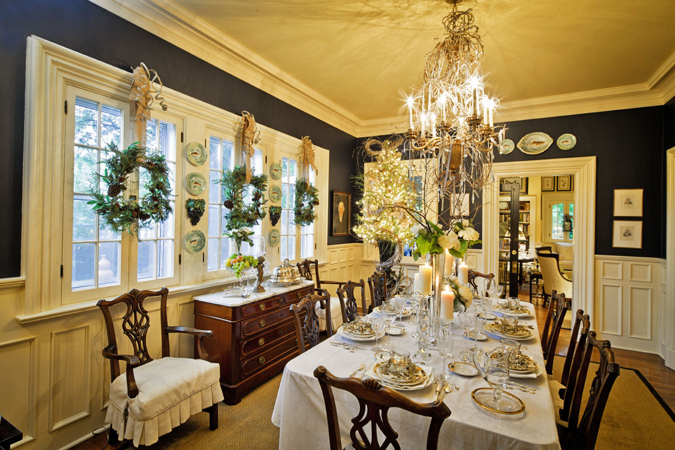 Decadent dining rooms william means for Christmas dining room ideas